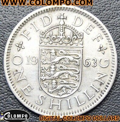 1963 One Coin Of 1 Shilling Coin Queen Elizabeth Ii, Collection, Gift