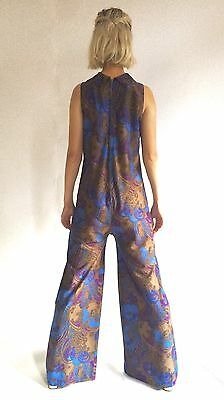 WOW Vintage 60s Miss Selfridge Paisley Jumpsuit Flared Leg Size 8 10 Psychedelic