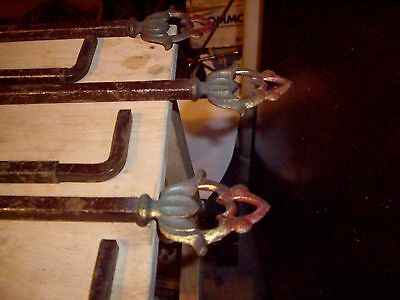 Set Of Six Vintage Swing Arm Art Deco Curtain Rods With No Brackets