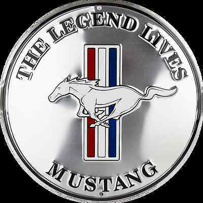 "Mustang The Legend Lives Pony Logo 12"" Round Metal Tin Retro Sign Ford Gt Garage"