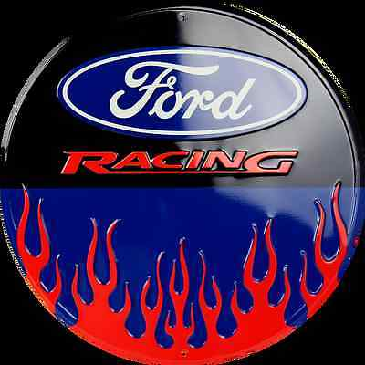"Ford Racing 12"" Round Metal Tin Embossed Sign Red Flames Logo Garage Game Room"