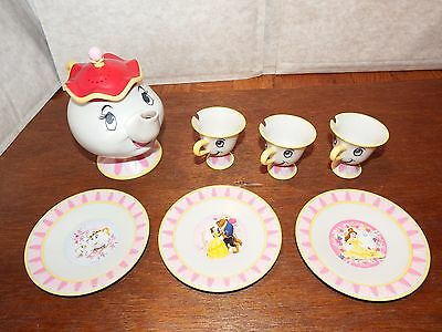 Disney Beauty and Beast Talking Mrs Potts and Chip tea set figure toy playset