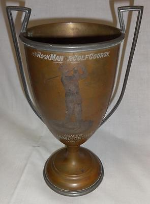 Antique Mixed Metal 1926 Golf Trophy Rockman Golf Course Delaware