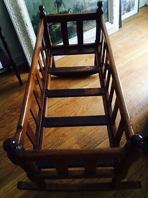 "Beautiful Antique Cherry, Hickory, & Pine Crib Cradle 41""long"