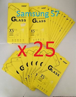 Joblot of 25 pcs - Tempered Glass Screen Protector for Samsung Galaxy S7 *NEW*