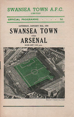 Swansea v Arsenal 25/1/1958 Friendly