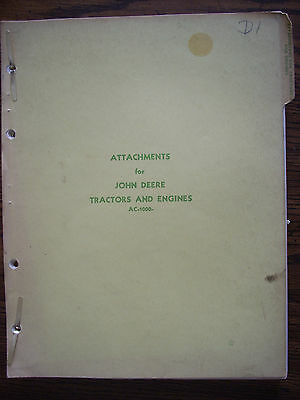 JD John Deere 1958 Attachments Manual for Tractors and Engines