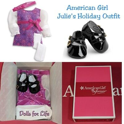 NEW IN BOX American Girl Julie's BeForever Holiday Outfit CHRISTMAS DRESS, SHOES