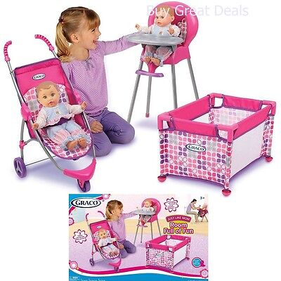 Girls Baby Play Furniture High Chair Stroller Pen 3 PC Set Kids Toy Bed Doll New