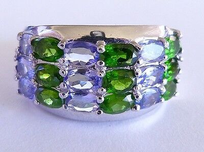 GENUINE! RARE 6.45tcw Tanzanite & Chrome Diopside Ring Solid Sterling Silver 925