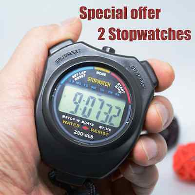 2 Digital Handheld Stopwatch With Alarm Counter Fast Shipment