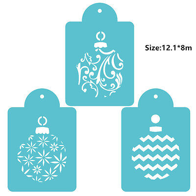 3 Pcs Packed Christmas Ball Cookie Cake Stencil Decorate Mould Fondant Tool