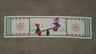 Swedish Embroidered cross stich Christmas tablecloth square Vintage Linen