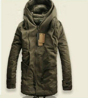NEW Winter Mens Military Trench Coat Ski Jacket Hooded Parka Thick Cotton