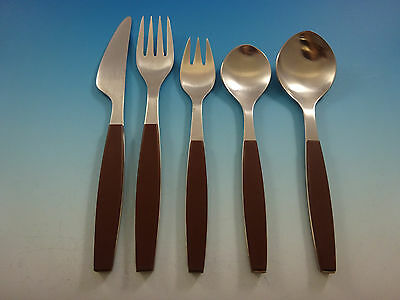 Strata Brown by Georg Jensen Stainless Steel Flatware Set Service Modern 74 Pcs