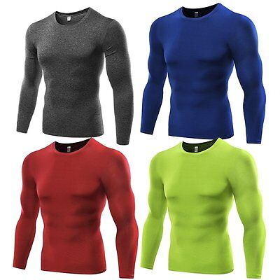 Mens Tights Sports T-shirts Compression Thermal Base Layer Long Sleeve Top S-3XL