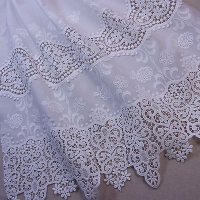 "Gorgeous Cotton Lace Fabric 24""(63cm) Off White Beige Cream 1yd"
