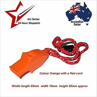 BRIGHT ORANGE SURVIVAL EMERGENCY WHISTLE WITH CORD - Camping Hiking Bush Walking