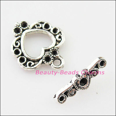 8Sets Tibetan Silver Lovely Heart Circle Bracelet Toggle Clasps Connectors