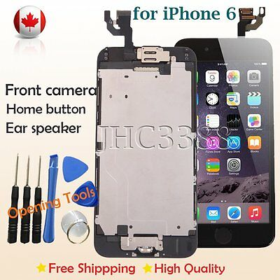 iPhone 6 LCD Assembly Screen Replacement Digitizer Home Button Camera Black CA