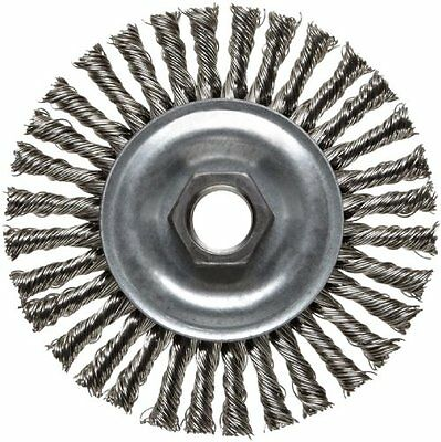 "Weiler Wire Wheel 4"" Narrow Face,Stringer Bead Knot20000 Rpm Coarse5/8""-11 Arbor"