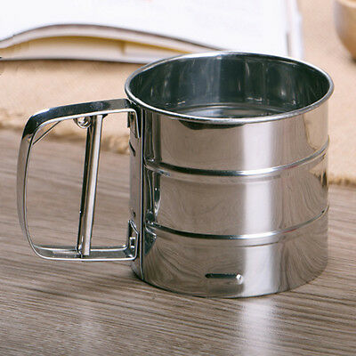 Stainless Steel Mesh Flour Sifter Sieve Strainer Cake Baking Kitchen Helper Prop