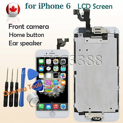 LCD Touch Screen Replacement Digitizer + Home Button + Camera White for iPhone 6