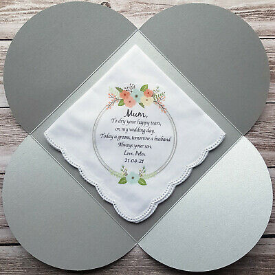 1 x Mother of the Groom Printed Wedding Handkerchief. Includes gift envelope