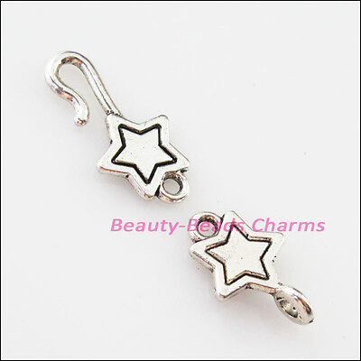 5Sets Tibetan Silver Lovely Star Bracelet Toggle Clasps Connectors 9.5x32mm