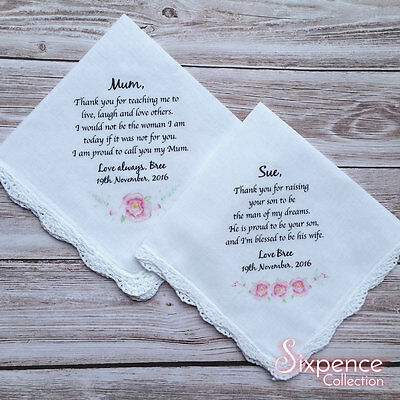 Mother of the Bride/ Mother in law Wedding Handkerchief set with gift envelopes