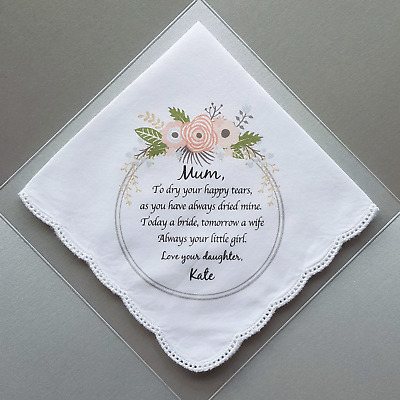 1 x Mother of the Bride Printed Wedding Handkerchief. Includes gift envelope.