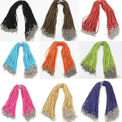 """10pcs Suede Leather Cord Chains DIY Necklace Pendant Lobster Clasp String 17"""""""