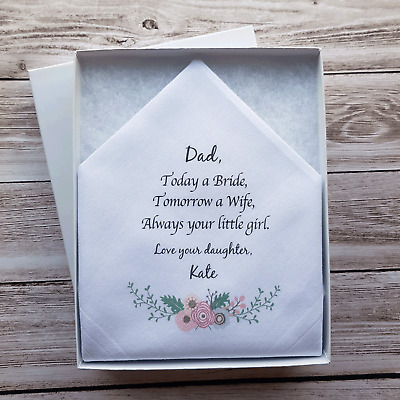 Father of the Bride Printed Mens Wedding Handkerchief. FOB gift.
