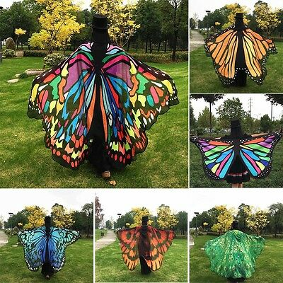 Colorful Soft Fabric Butterfly Wings Fairy Ladies Nymph Pixie Costume Accessory