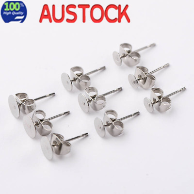 200pcs 6mm Flatback Earring Stud Post Hypoallergenic Surgical Steel findings&nut
