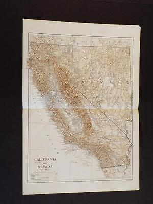OLD VINTAGE MAP OF CALIFORNIA & NEVADA STATE's U.S.A - ANTIQUE PRINT circa 1910