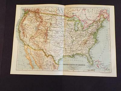 OLD VINTAGE MAP OF THE UNITED STATES of AMERICA - ANTIQUE PRINT circa 1910