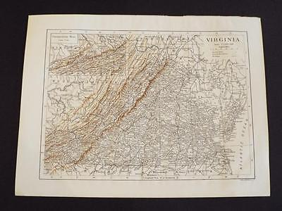VIRGINIA STATE MAP U.S.A - OLD/ANTIQUE PRINT circa 1910