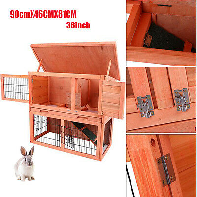 3Ft Outdoor Rabbit Hutch Wooden Guinea Pig Bunny Pet House In Run Garden Cage