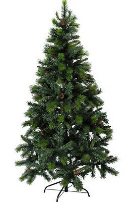 5ft 6ft 7ft Artificial Green Christmas Tree with cones and berries Xmas SALE
