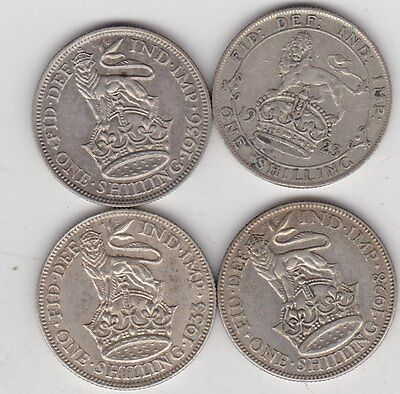 1923/1928/1933 & 1936 George V Shillings In Very Fine Condition