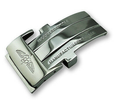 Steel Deployment Clasp Buckle for Breitling Leather Watch Strap Band 20mm Silver