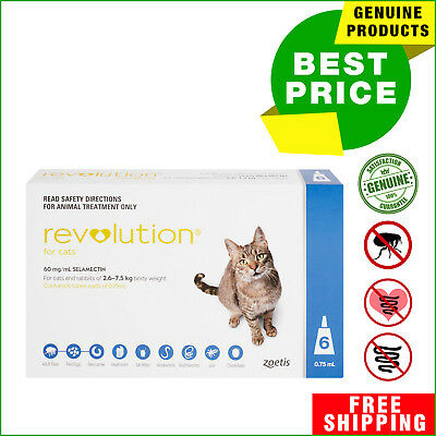 Revolution for Cats Blue Pack 2.6 - 7.5 Kg 6 Pipettes + 1 FREE Pipette AU Shop