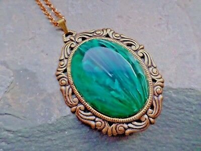 Large Victorian Style Vintage Green Pendant Necklace Steampunk Edwardian Gothic