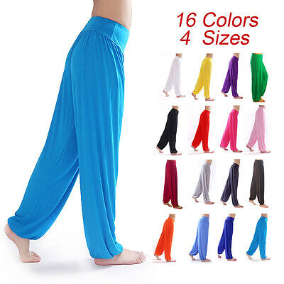 Women Bloomers Dance Yoga TaiChi Full Length Pants Smooth Antistatic Pants