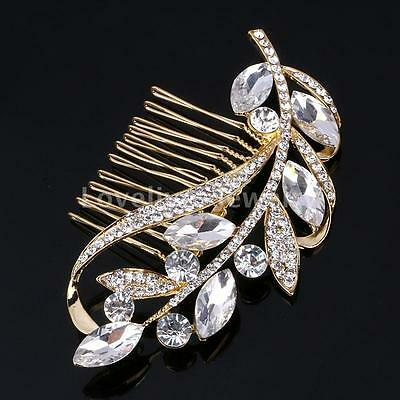 Wedding Bridal Gold Floral Hair Combs Diamante Crystal Rhinestone Slide Clip