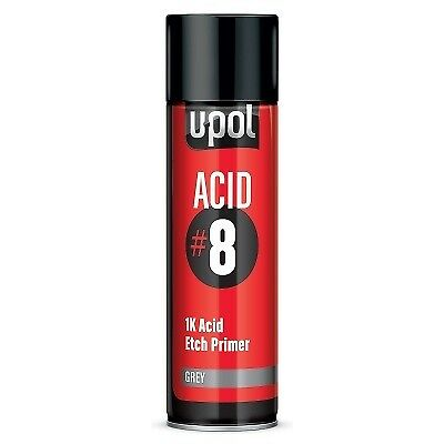 U-POL ACID #8 GREY 1K ETCH PRIMER AEROSOL SPRAY CAN 450ml FAST DRYING ANTI RUST