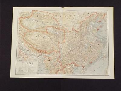 OLD VINTAGE MAP of CHINA - ANTIQUE PRINT circa 1910 + TIBET/INDIA/MONGOLIA