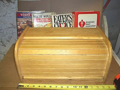 """bread box wood kamenstein roll front   7"""" X 9"""" X 15"""" with healthy cookbooks"""