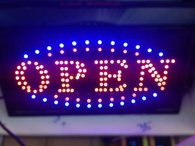 LED Open Sign Bright Flashing Window Hanging Display Neon Light Shop